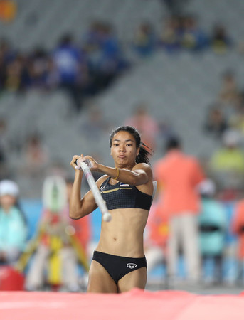 INCHEON - SEP 30:Chayanisa CHOMCHUENDEE of Thailand in action during the 2014 Incheon Asian Games at Incheon Asiad Main Stadium on September 30, 2014 in Incheon, South Korea.