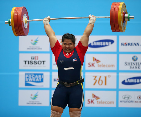 incheon: INCHEON - SEP 26:Chitchanok PULSABSAKUL of Thailand in action during the 2014 Incheon Asian Games at Moonlight Festival Garden Weightlifting Venue on September 26, 2014 in Incheon, South Korea.