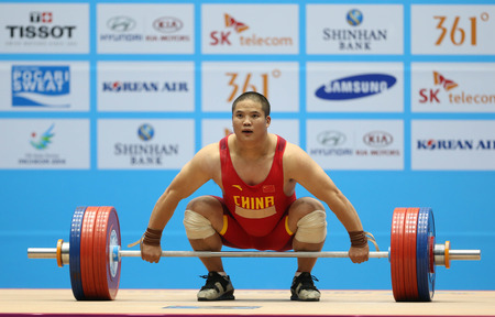 incheon: INCHEON - SEP 25:LIU Hao of China participates in 2014 Incheon Asian Games at Moonlight Festival Garden Weightlifting Venue on September 25, 2014 in Incheon, South Korea.