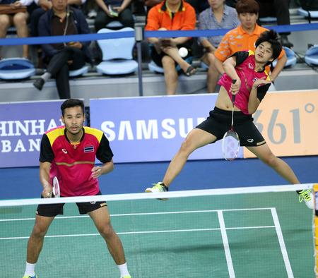 incheon: INCHEON - SEP 26:Maneepong JONGJIT and Sapsiree  TAERATTANACHAI of Thailand participates in 2014 Incheon Asian Games at Gyeyang Gymnasium on September 6, 2014 in Incheon, South Korea.