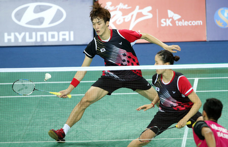 incheon: INCHEON - SEP 26:SHIN Baekcheol and CHANG Yena of Korea participates in 2014 Incheon Asian Games at Gyeyang Gymnasium on September 6, 2014 in Incheon, South Korea. Editorial