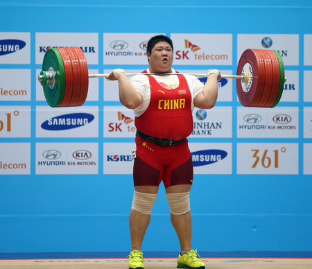 incheon: INCHEON - SEP 26:ZHOU Lulu of China in action during the 2014 Incheon Asian Games at Moonlight Festival Garden Weightlifting Venue on September 26, 2014 in Incheon, South Korea. Editorial