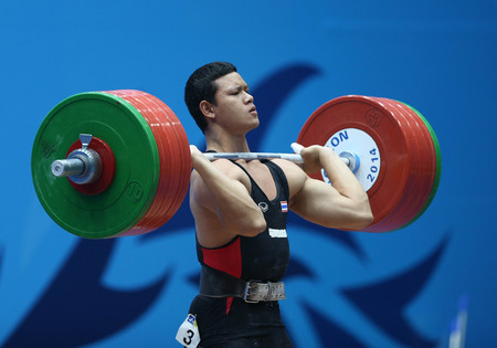 incheon: INCHEON - SEP 25:Sarat SUMPRADIT  of Thailand participates in 2014 Incheon Asian Games at Moonlight Festival Garden Weightlifting Venue on September 25, 2014 in Incheon, South Korea.