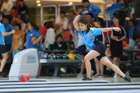 bowling alley: INCHEON - SEP 24:Tanaprang Sathean of Thailand participates in 2014 Incheon Asian Games at Anyang Hogye Gymnasium on September 24, 2014 in Incheon, South Korea. Editorial