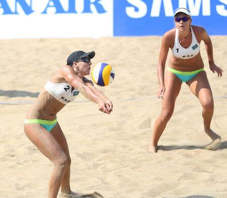 incheon: INCHEON - SEP 22:TSIMBALOVA Irina of Kazakhstan participates in 2014 Incheon Asian Games at Songdo Global Uni. Beach Volleyball on September 22, 2014 in Incheon, South Korea.