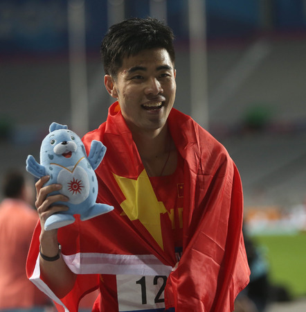INCHEON - SEP 30:XIE Wenjun of China in action during the 2014 Incheon Asian Games at Incheon Asiad Main Stadium on September 30, 2014 in Incheon, South Korea.