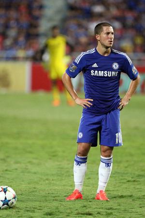 chelsea: BANGKOK  MAY 30:Eden Hazard of Chelsea in action during Singha Chelsea FC Celebration match at Rajamangala Stadium on MAY 30 2015 in Bangkok Thailand.