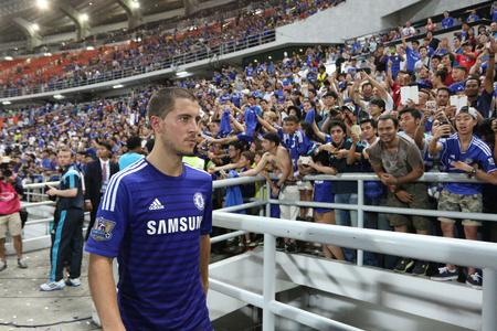 BANGKOK  MAY 30:Eden Hazard of Chelsea in action during Singha Chelsea FC Celebration match at Rajamangala Stadium on MAY 30 2015 in Bangkok Thailand.