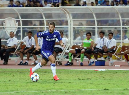 chelsea: BANGKOK - MAY 30:Eden Hazard of Chelsea in action during Singha Chelsea FC Celebration match at Rajamangala Stadium on MAY 30, 2015 in Bangkok, Thailand.