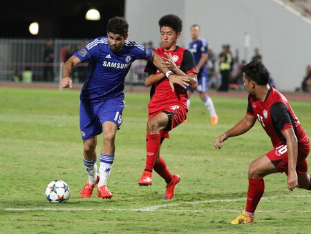chelsea: BANGKOK - MAY 30:Diego Costa of Chelsea in action during Singha Chelsea FC Celebration match at Rajamangala Stadium on MAY 30, 2015 in Bangkok, Thailand.