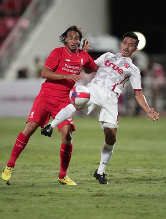 BANGKOK, THAILAND - JULY 14:Marko Markovic of Liverpool in action during Ture Super Trophy  Liverpool Tour 2015 at Rajamangala Stadium on JULY 14, 2015 in Bangkok, Thailand.