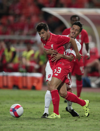 BANGKOK, THAILAND - JULY 14:Joao Carlos Teixeira of Liverpool in action during Ture Super Trophy  Liverpool Tour 2015 at Rajamangala Stadium on JULY 14, 2015 in Bangkok, Thailand. 報道画像