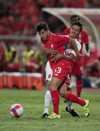 BANGKOK, THAILAND - JULY 14:Joao Carlos Teixeira of Liverpool in action during Ture Super Trophy  Liverpool Tour 2015 at Rajamangala Stadium on JULY 14, 2015 in Bangkok, Thailand. 報道画像