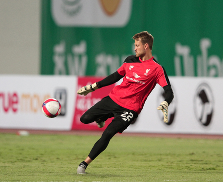 BANGKOK, THAILAND - JULY 14:Simon Mignolet of Liverpool in action during Ture Super Trophy  Liverpool Tour 2015 at Rajamangala Stadium on JULY 14, 2015 in Bangkok, Thailand.
