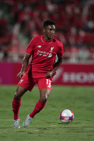 BANGKOK, THAILAND - JULY 14:Joe Gomez of Liverpool in action during Ture Super Trophy  Liverpool Tour 2015 at Rajamangala Stadium on JULY 14, 2015 in Bangkok, Thailand.
