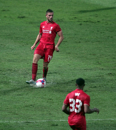 BANGKOK, THAILAND - JULY 14:Jordan Henderson of Liverpool in action during Ture Super Trophy  Liverpool Tour 2015 at Rajamangala Stadium on JULY 14, 2015 in Bangkok, Thailand.