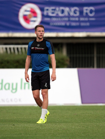 BANGKOK, THAILAND - July 7:Chris Gunter of Reading FC in action during an evening session at Supachalasai National Stadium on July 7, 2015 in Bangkok, Thailand.