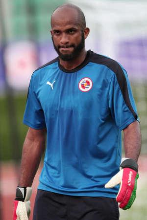 BANGKOK, THAILAND - July 7:Ali AL Habsi of Reading FC in action during an evening session at Supachalasai National Stadium on July 7, 2015 in Bangkok, Thailand.