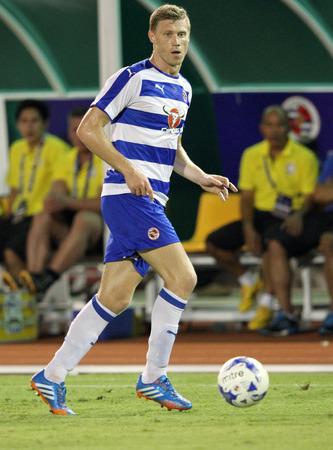 BANGKOK, THAILAND - July 8:Pavel Pogrebnyak of Reading FC in action during Reading FC Thailand Tour 2015 at Rajamangala Stadium on July 8, 2015 in Bangkok, Thailand.