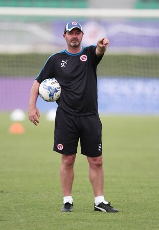 BANGKOK, THAILAND - July 7:Steve Clarke Manager of  Reading FC in action during an evening session at Supachalasai National Stadium on July 7, 2015 in Bangkok, Thailand. 報道画像