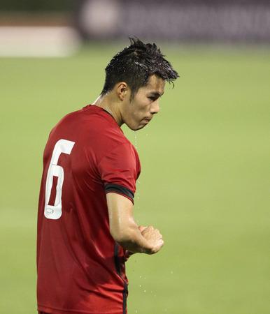 BANGKOK, THAILAND - July 8:Sarach Yooyen of Thailand All Star in action during Reading FC Thailand Tour 2015 at Rajamangala Stadium on July 8, 2015 in Bangkok, Thailand.