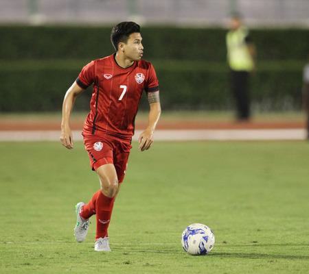 BANGKOK, THAILAND - July 8:Thitiphan Puangjan of Thailand All Star in action during Reading FC Thailand Tour 2015 at Rajamangala Stadium on July 8, 2015 in Bangkok, Thailand. 報道画像