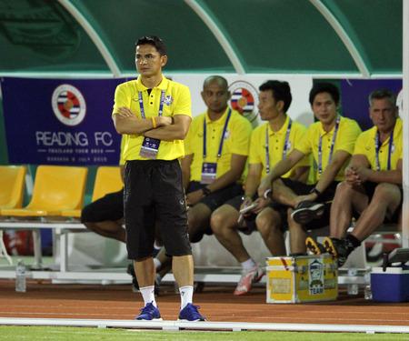 BANGKOK, THAILAND - July 8:Kiatisuk Senamuang head coach of Thailand All Star in action during Reading FC Thailand Tour 2015 at Rajamangala Stadium on July 8, 2015 in Bangkok, Thailand.