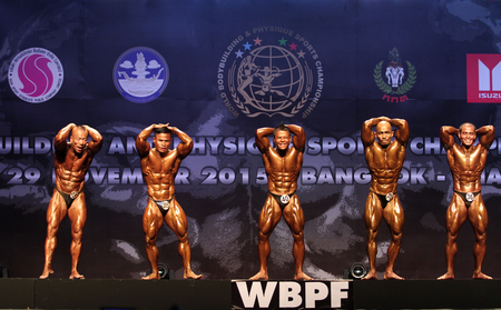 Bangkok - November 27:Somkhit Sumethowetchakun(205) of Thailand in action during WBPF World Bodybuilding and Physique Sport Championships 2015 at MCC Hall The Mall Bangkapi on November 27, 2015 in Bangkok, Thailand.