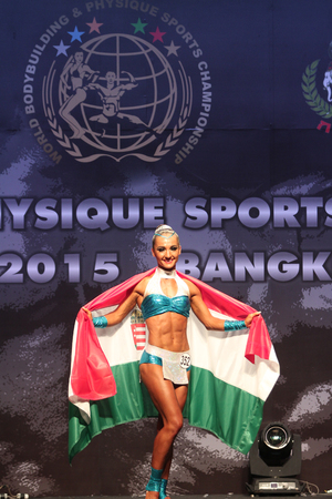 Bangkok - November 27:Judit Bistei of Hungary in action during WBPF World Bodybuilding and Physique Sport Championships 2015 at MCC Hall The Mall Bangkapi on November 27, 2015 in Bangkok, Thailand. 報道画像