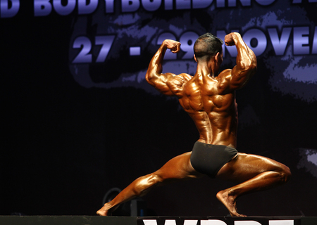 Bangkok - November 27:Ibrahim Didi Shaheen of Maldives in action during WBPF World Bodybuilding and Physique Sport Championships 2015 at MCC Hall The Mall Bangkapi on November 27, 2015 in Bangkok, Thailand. Editorial