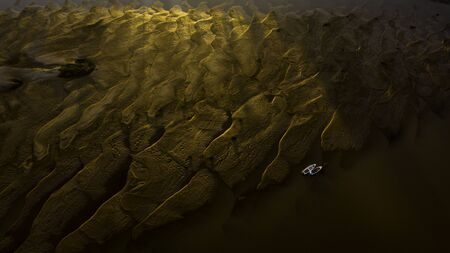 Boats stranded by the drought of the rivers due to climate change