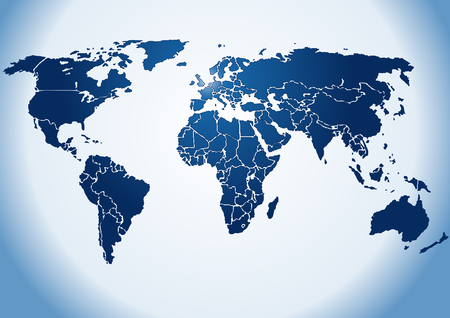 Dark blue shiny silhouette World map, on shiny blue background(Vector). Each country is a separate shape. Background is in a separate layer. Colors are controlled by Swatches Illustration
