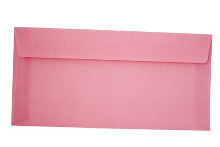 Pink envelope on white background, to write your own text