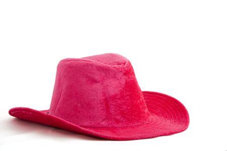 estereotipo: Cowboy de terciopelo rosa  ni�a sombrero aislados en fondo blanco  Foto de archivo