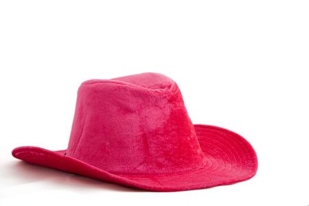 Pink velvet cowboygirl hat isolated on white background Stock Photo