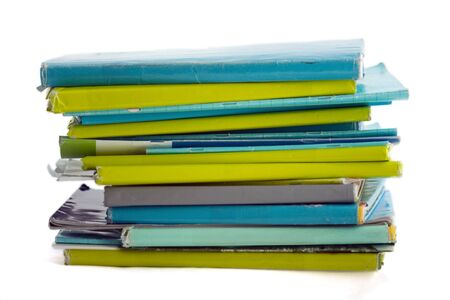 schoolbook: Pile of schoolbook in blue and lime green paper