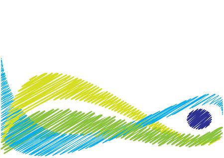 Curvy natural colored sketched background waves Иллюстрация