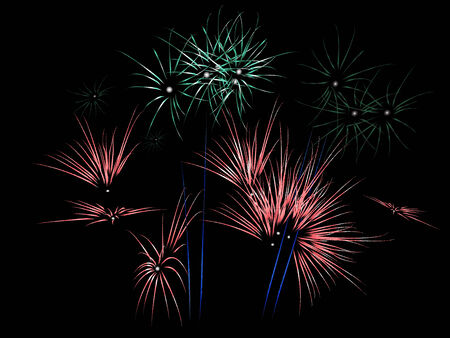 Red and green fireworks exploding (Vector) Vector