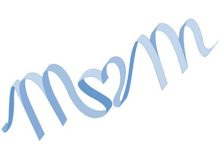 Blue ribbon writes MoM o in heart shape (Vector)