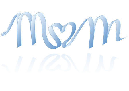 single word: Blue ribbon writes MoM o in heart shape (Vector)