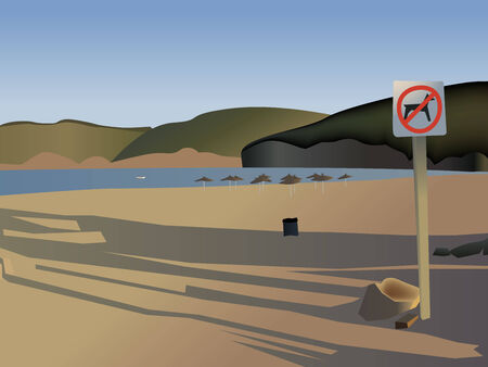 no swimming: Empty evening bay beach with (Vector)