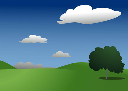 Beautifull clean sunny landscape with one tree (Vector)