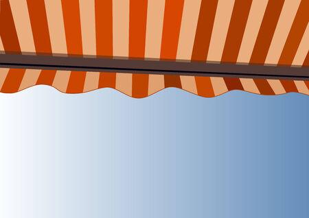 Sunshade over bright sunny blue sky (Vector)