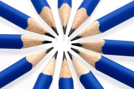 Blue pencils in a circle - close-up