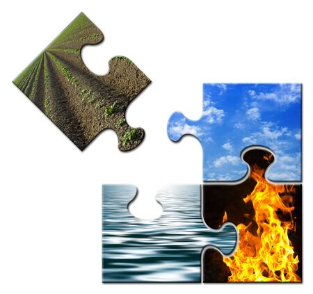 Four elements in a puzzle - Earth apart Stock Photo - 3170425