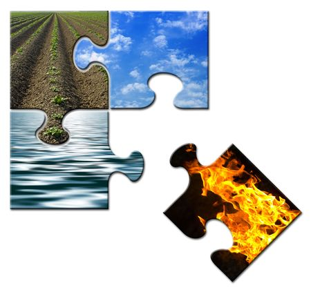 Four elements in a puzzle - Fire apart