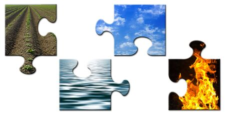 Four elements in a unsolved puzzle photo