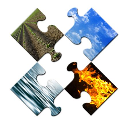 unsolved: Four elements in a unsolved puzzle Stock Photo