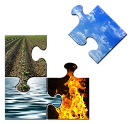 unsolved: Four elements in a puzzle - sky apart Stock Photo