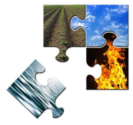 cuatro elementos: Cuatro elementos de un rompecabezas - aparte del agua